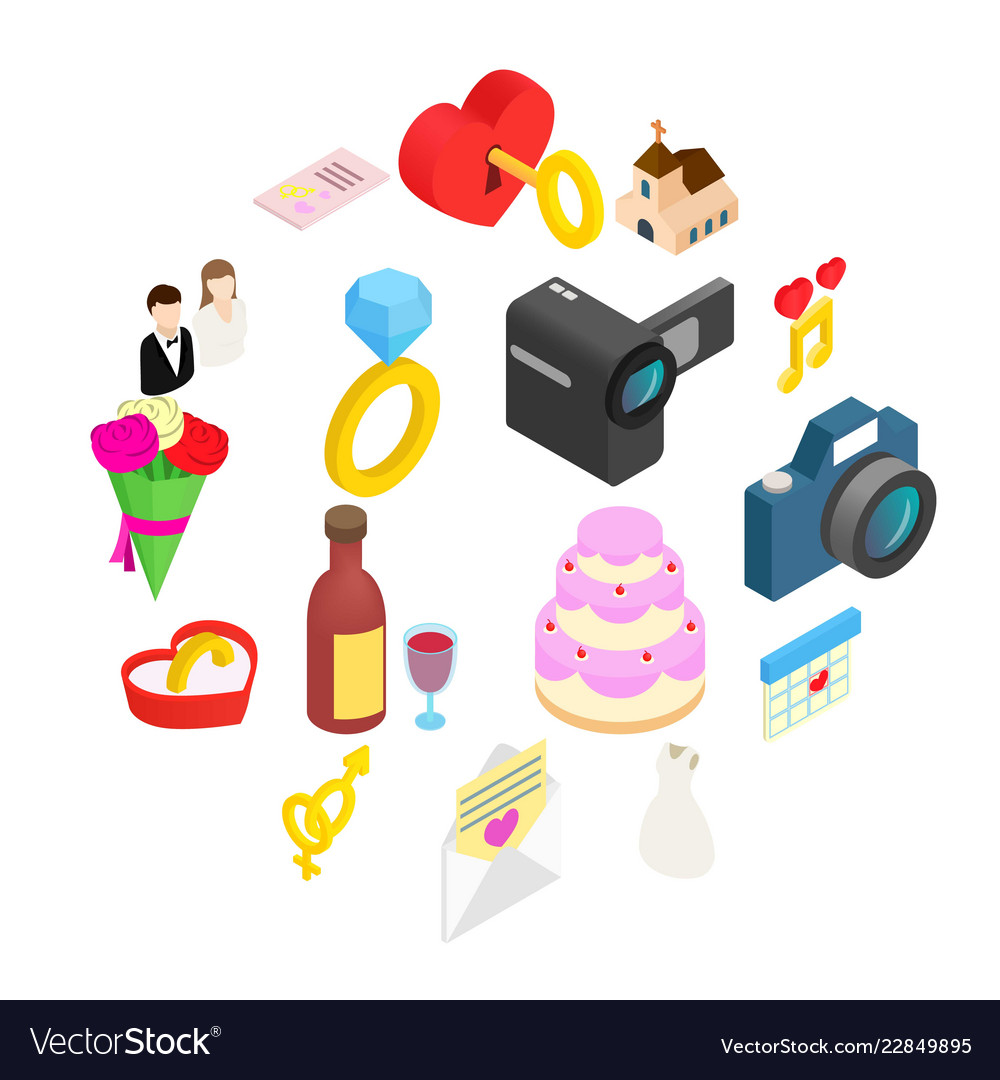 Wedding isometric 3d icons set