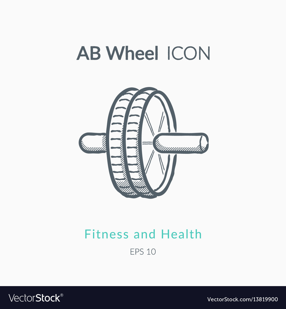 Ab wheel icon on white background