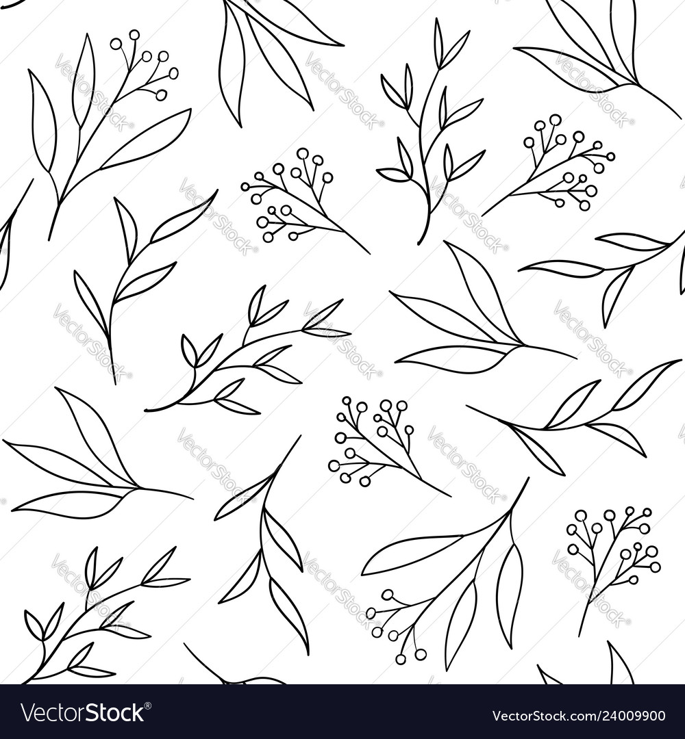 Floral seamless pattern with hand drawn herbs