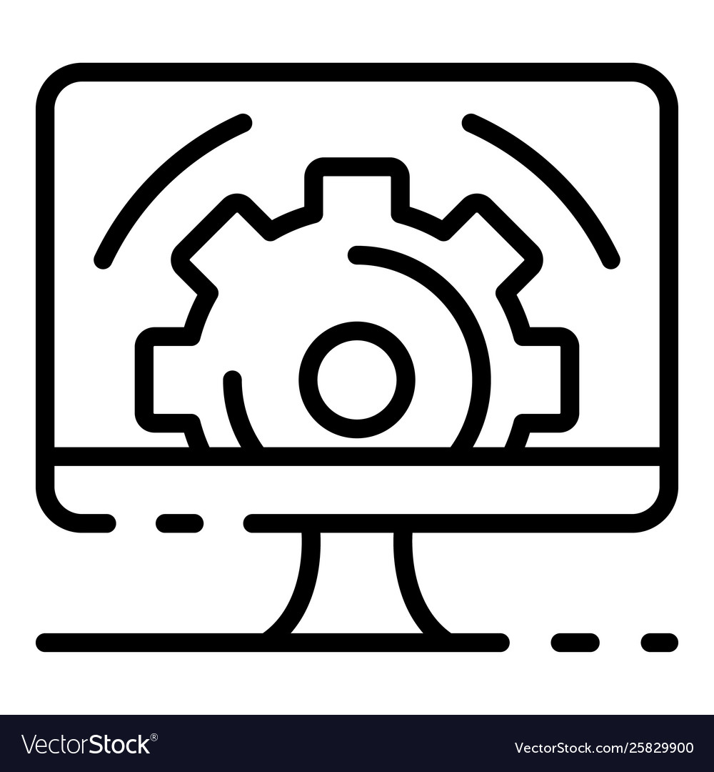 Gear on computer screen icon outline style
