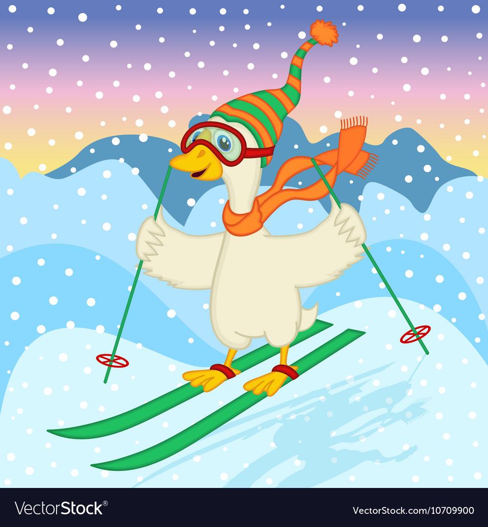 Goose ski jumping