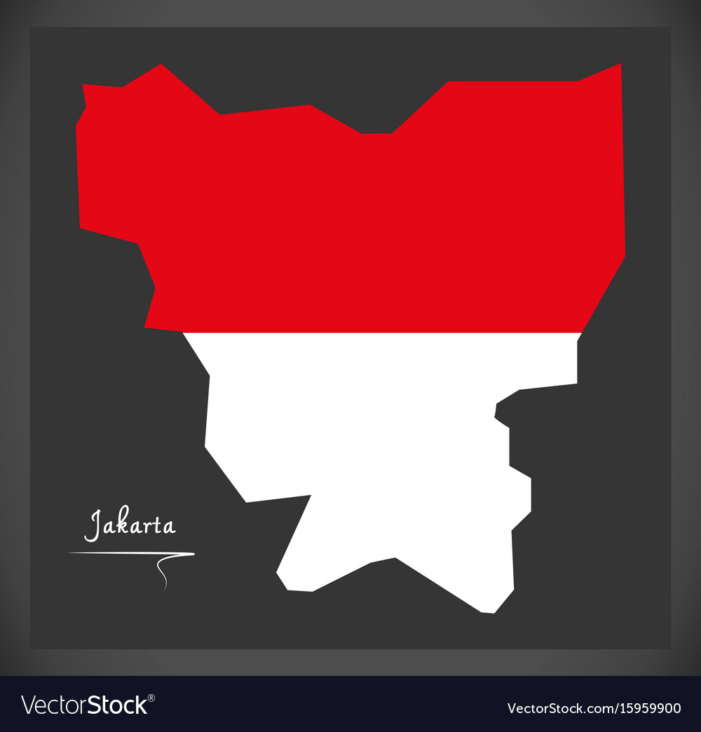 Jakarta indonesia map with indonesian national