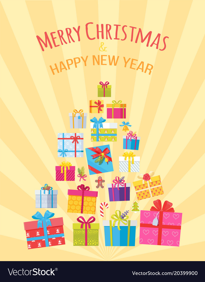 Merry christmas happy new year postcard with gifts