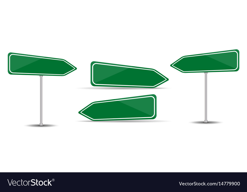 Road sign isolated on white background blank green