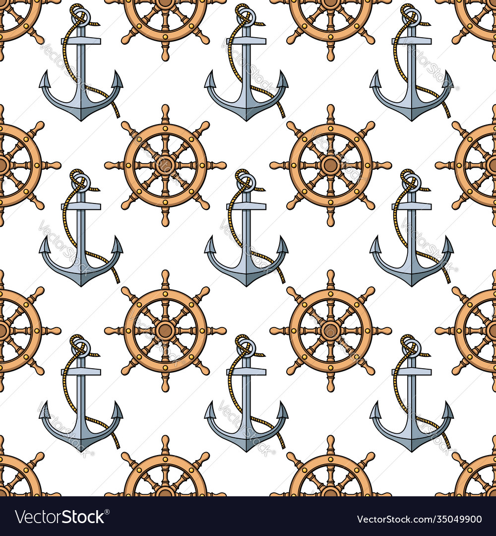 Seamless pattern with anchors and ships wheels