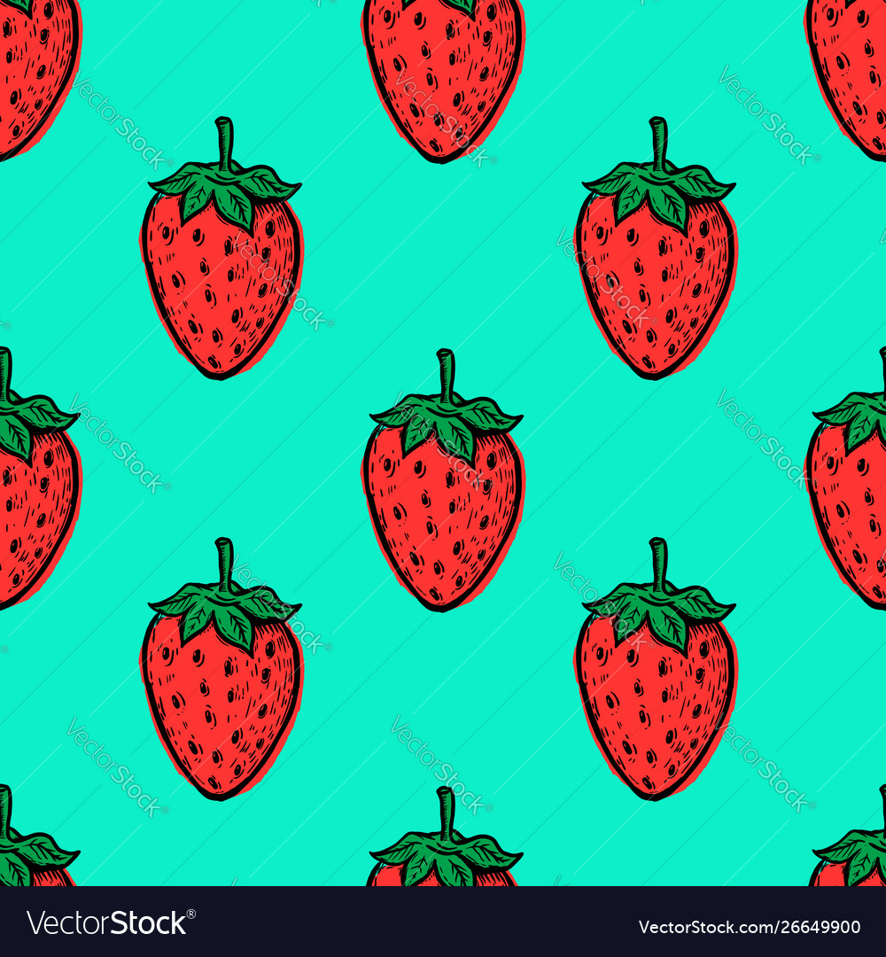 Seamless pattern with hand drawn strawberries
