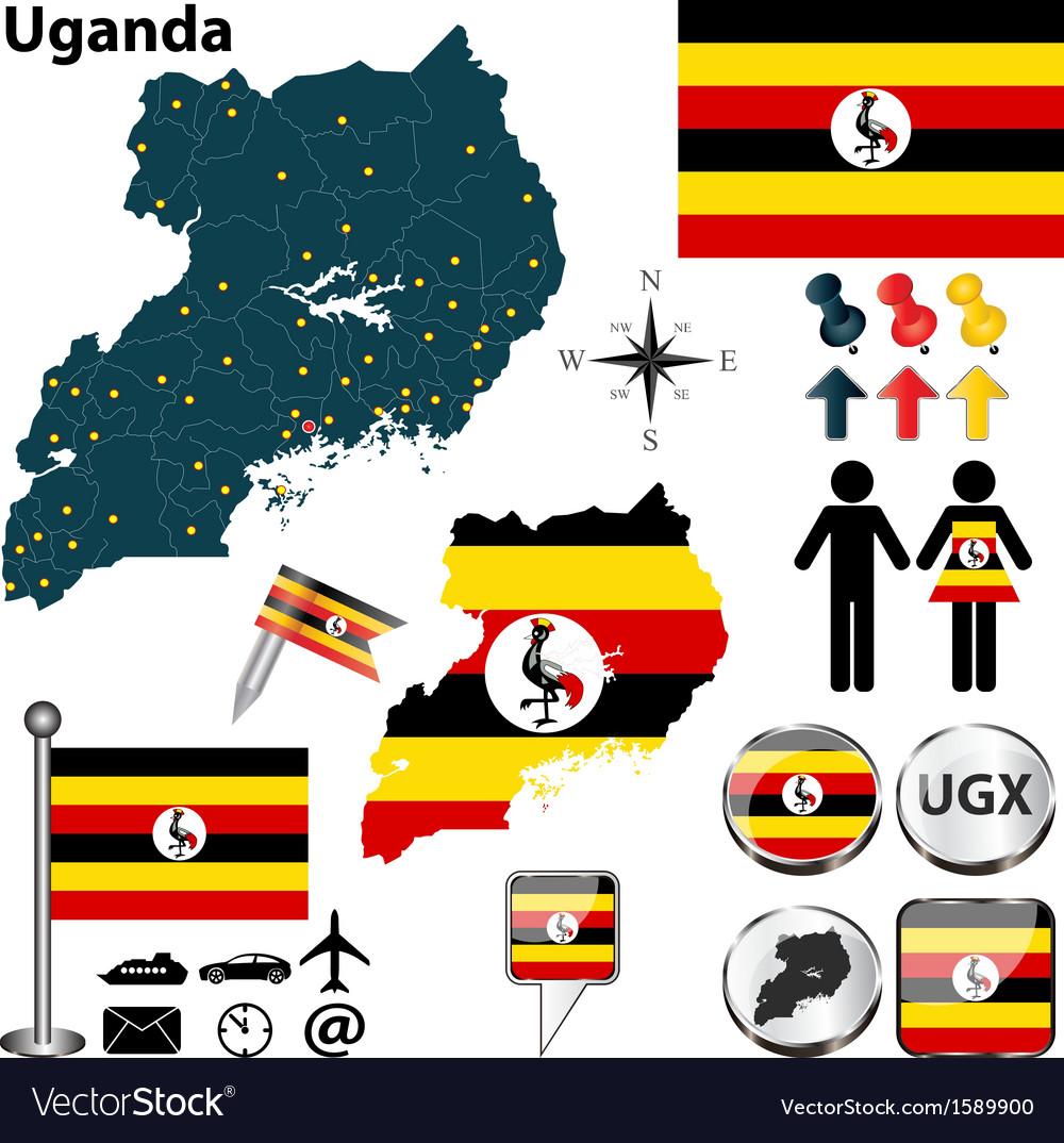 Uganda map vector image