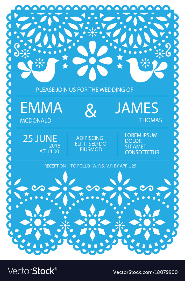 Wedding invitation card template - mexican vector image