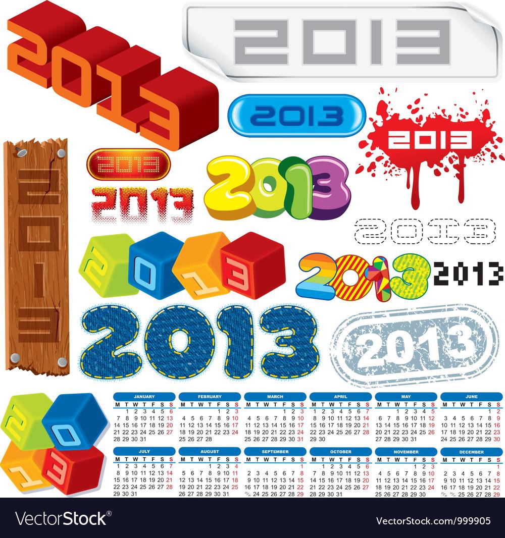 2013 logo collection and calendar vector image
