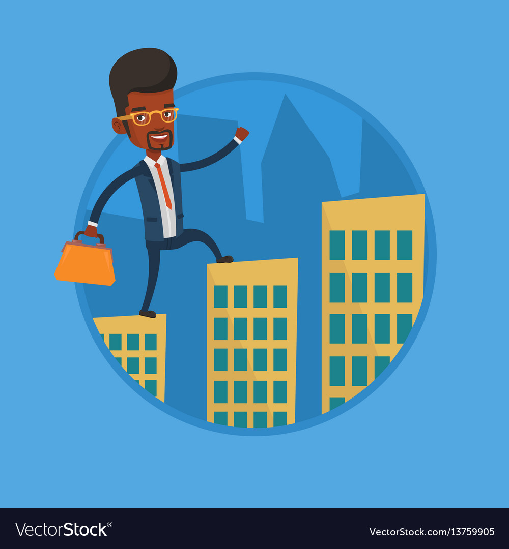 Business man walking on the roofs of buildings
