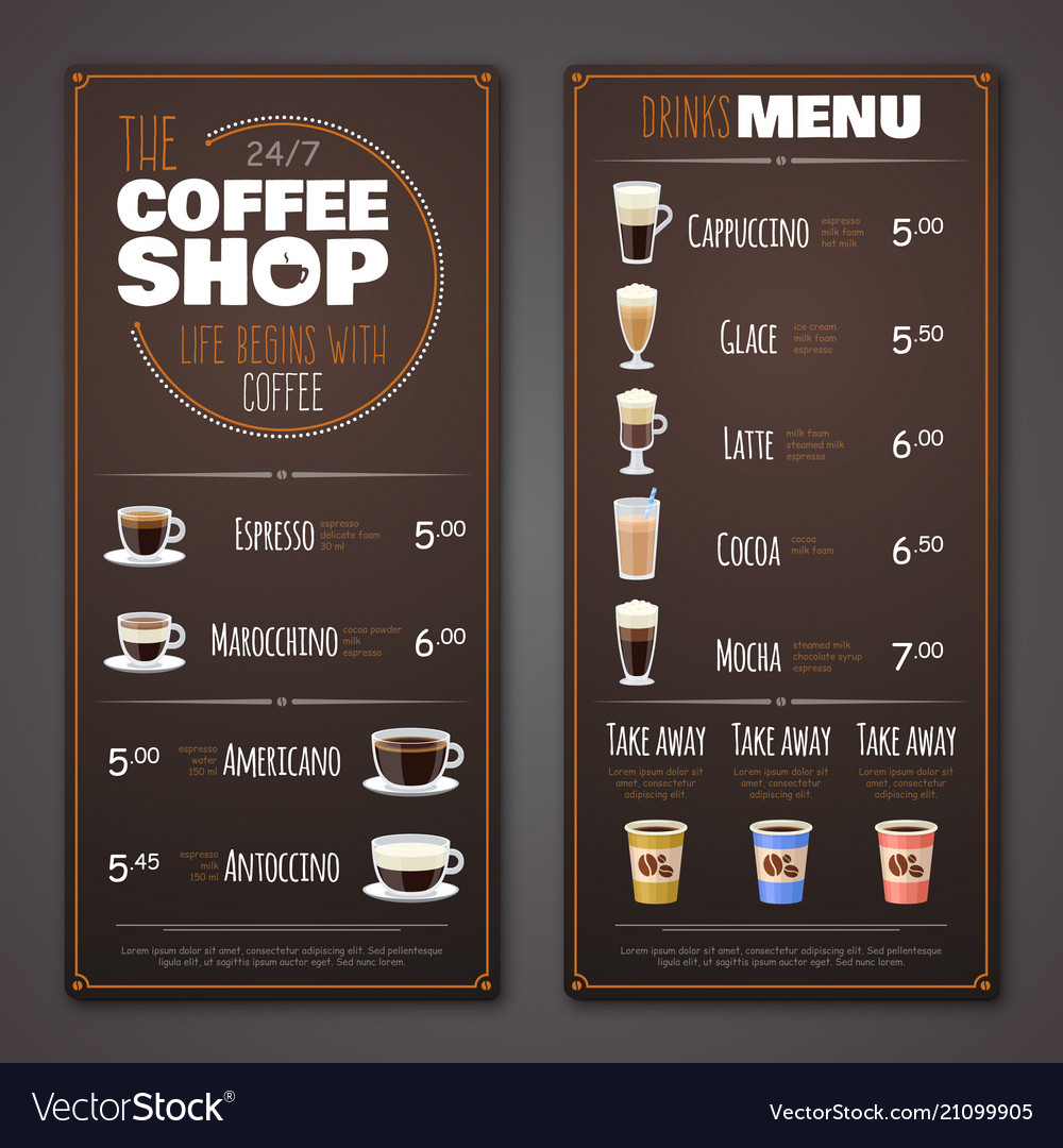 coffee shop menu design template royalty free vector image