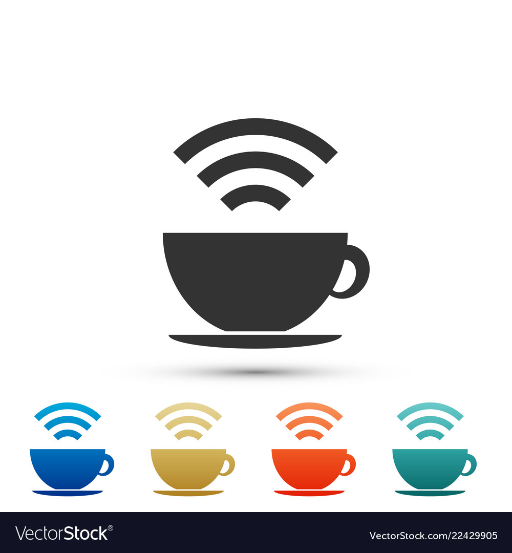 Cup of coffee shop with free wi-fi zone icon