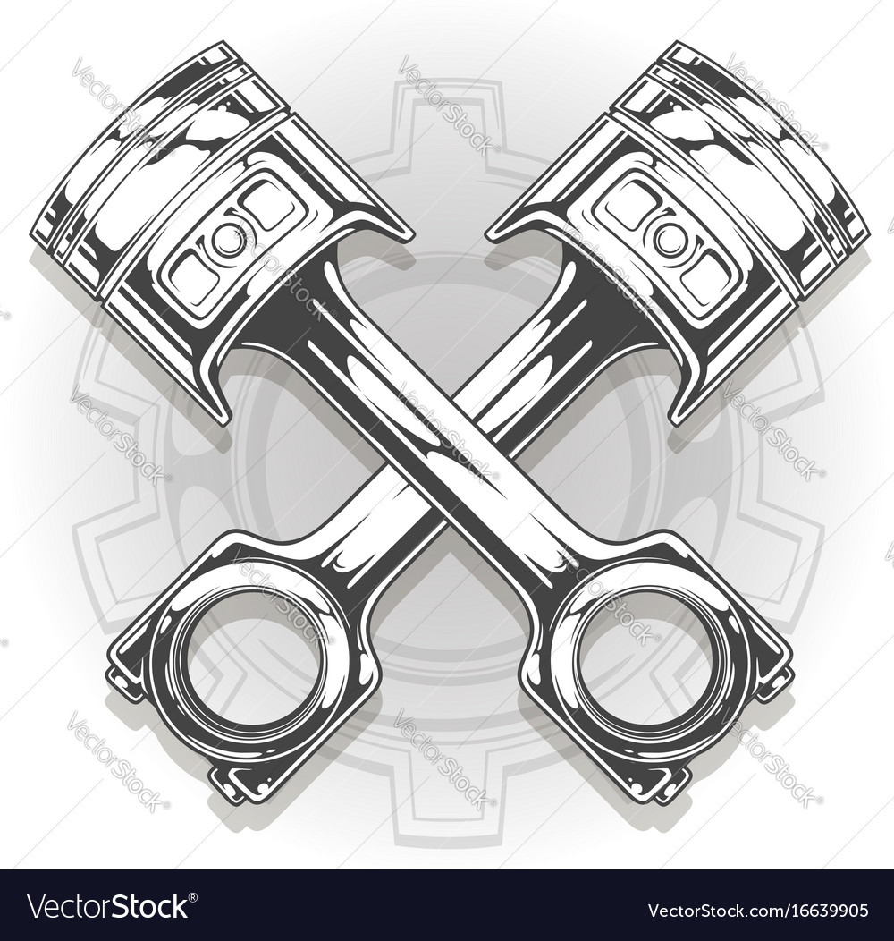 Double graphic black car engine piston vector image