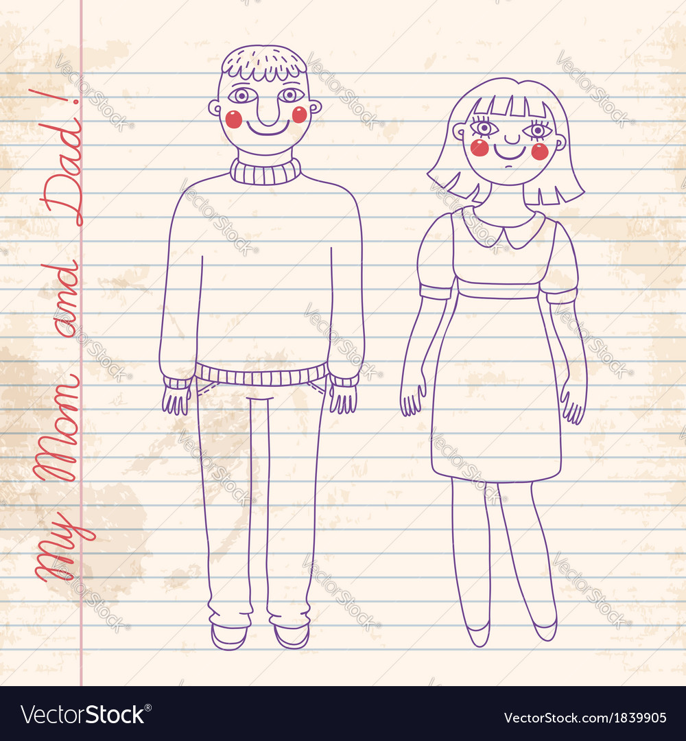 Drawn in a notebook mom and dad