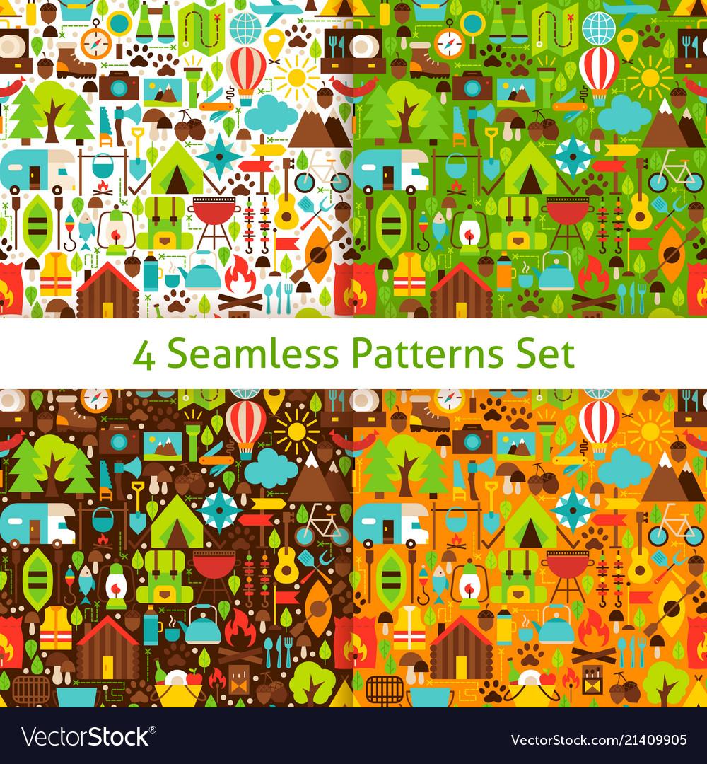Four flat camping patterns set