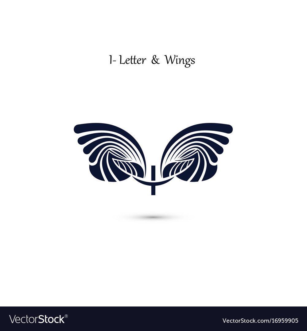 I letter sign and angel wings monogram wing logo