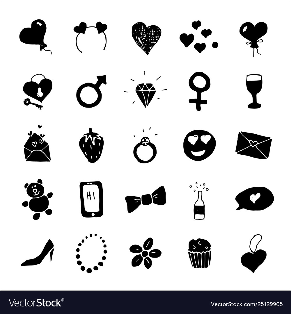 Love and valentine doodle icons hand drawn signs