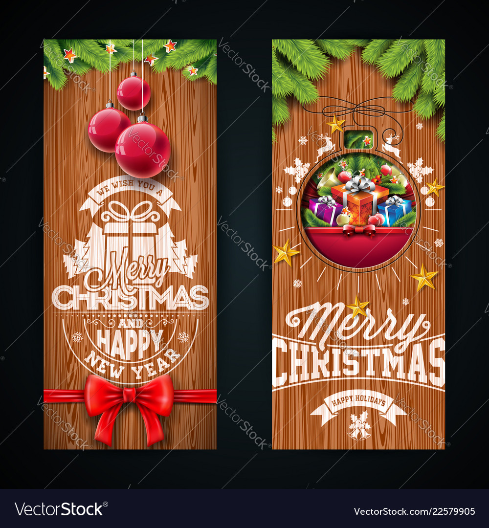 Merry christmas banner design with glass ball