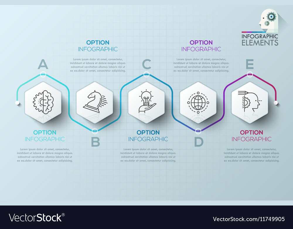 modern infographics process template with paper vector image