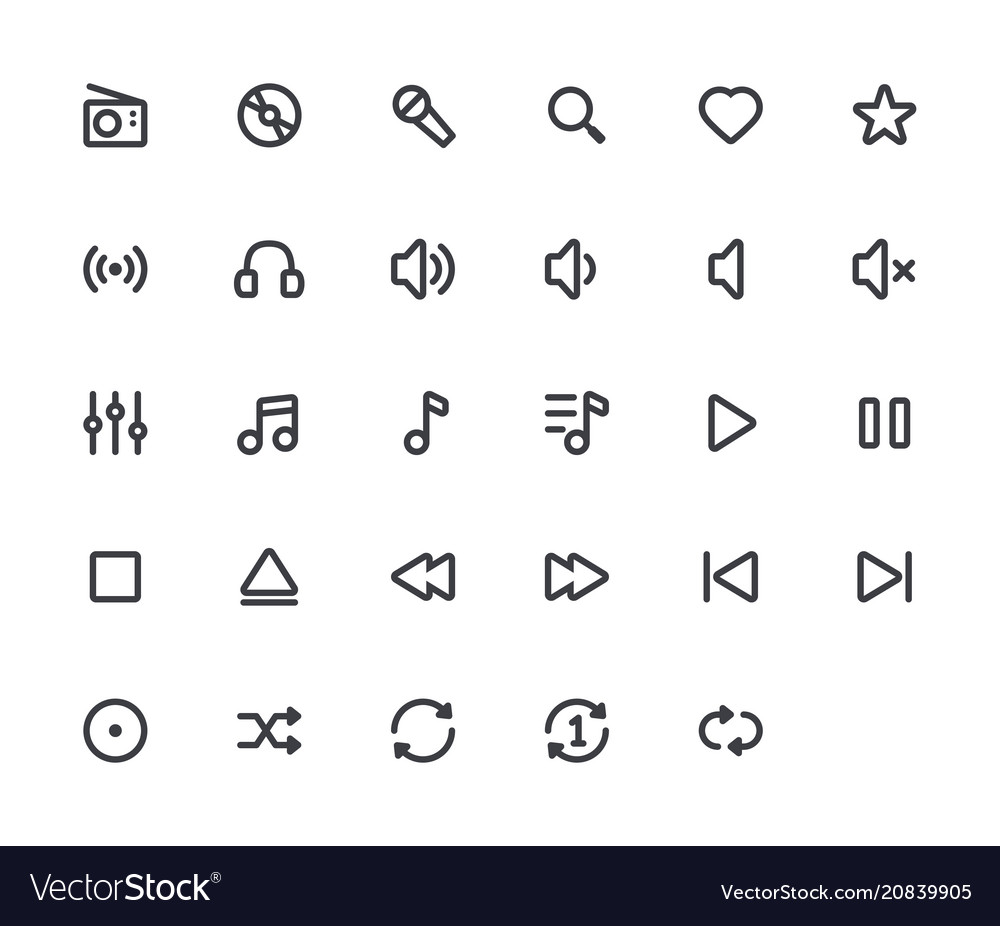 Music outline icons 29 icons 4 pixel stroke