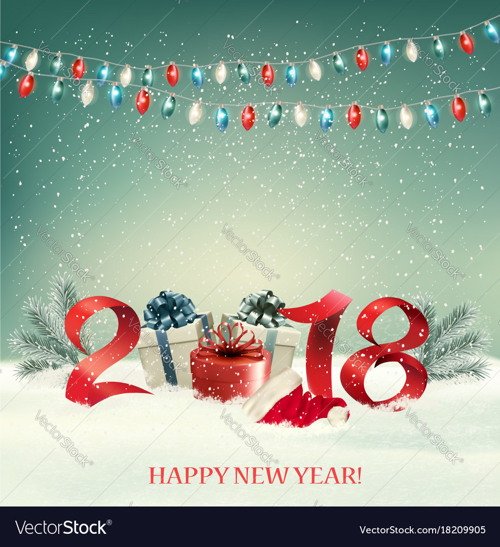 New year background with gift boxes and colorful