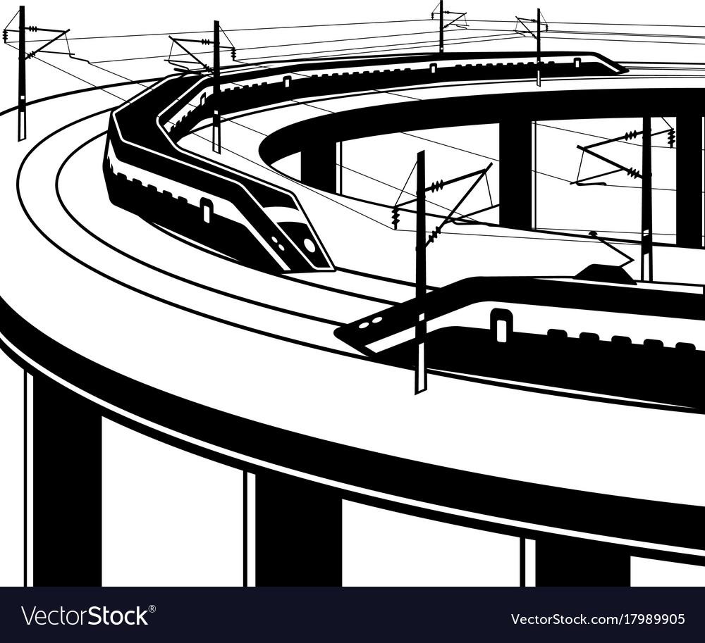 Passenger trains pass through bridge