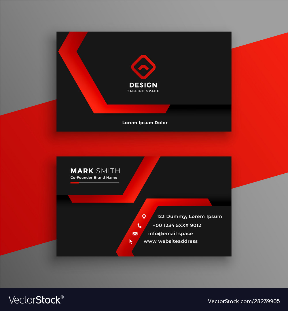 Red and black geometric business card template