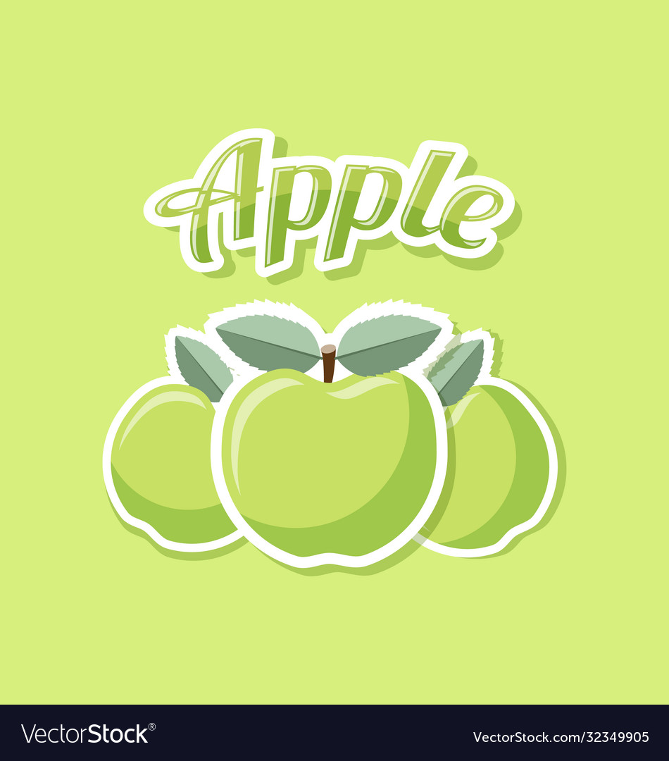 Retro apples with title on green background