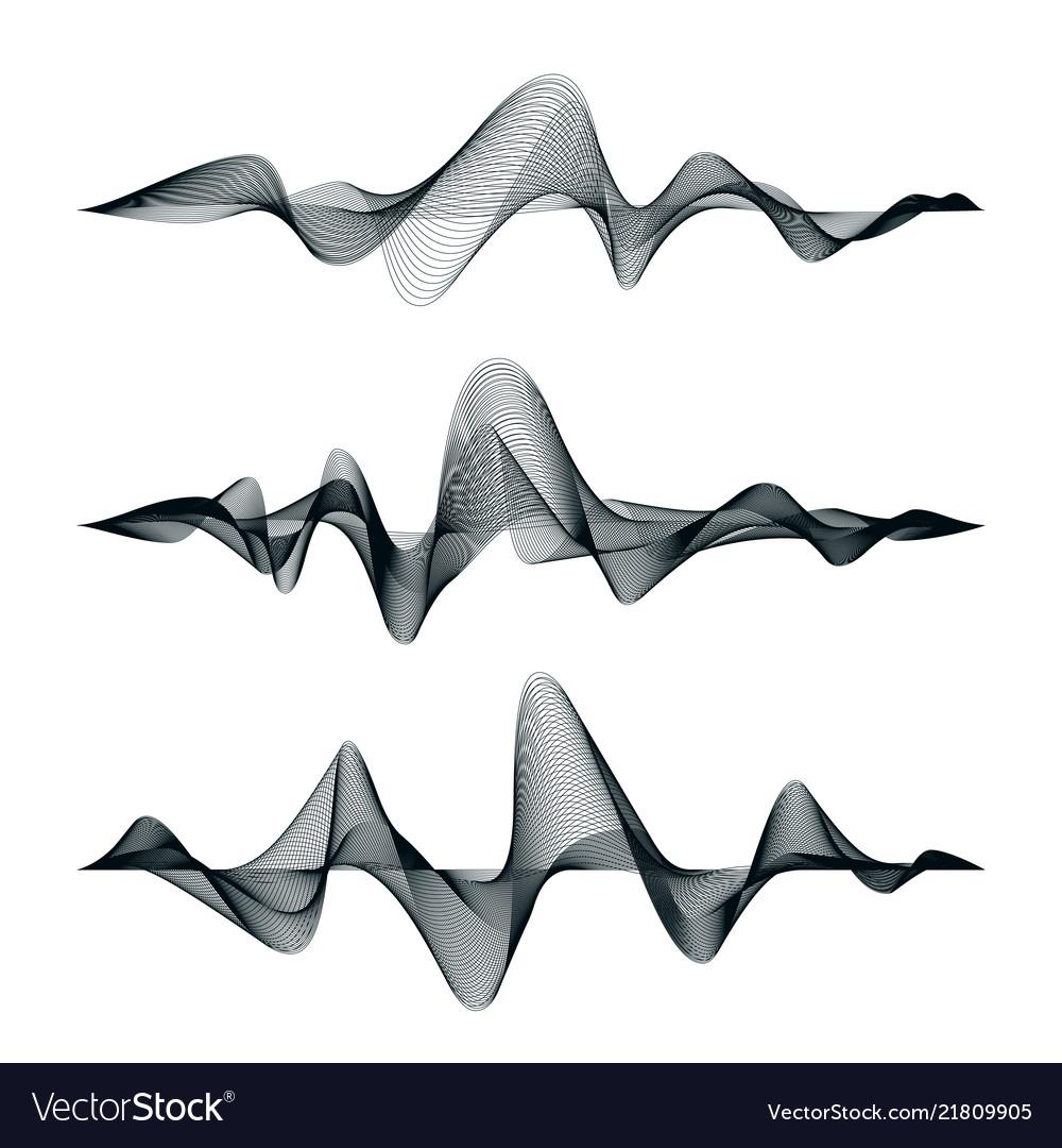 Sound waves track design set of audio waves