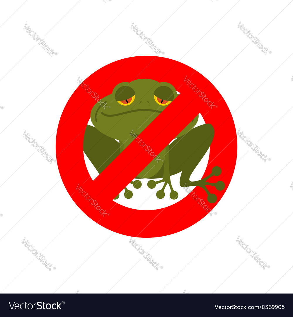 Stop frog Red forbidding sign for green amphibian