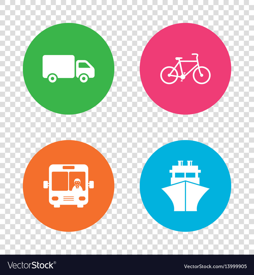 Transport icons truck bicycle bus and ship