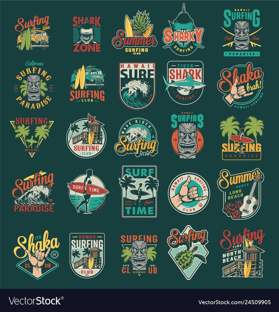 Vintage summer surfing labels set