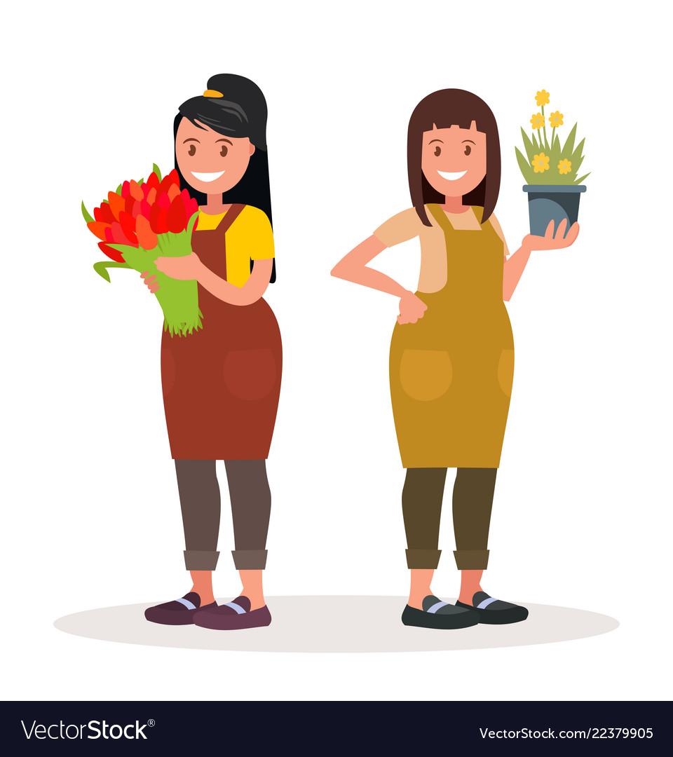 Women florists workers of flower shop