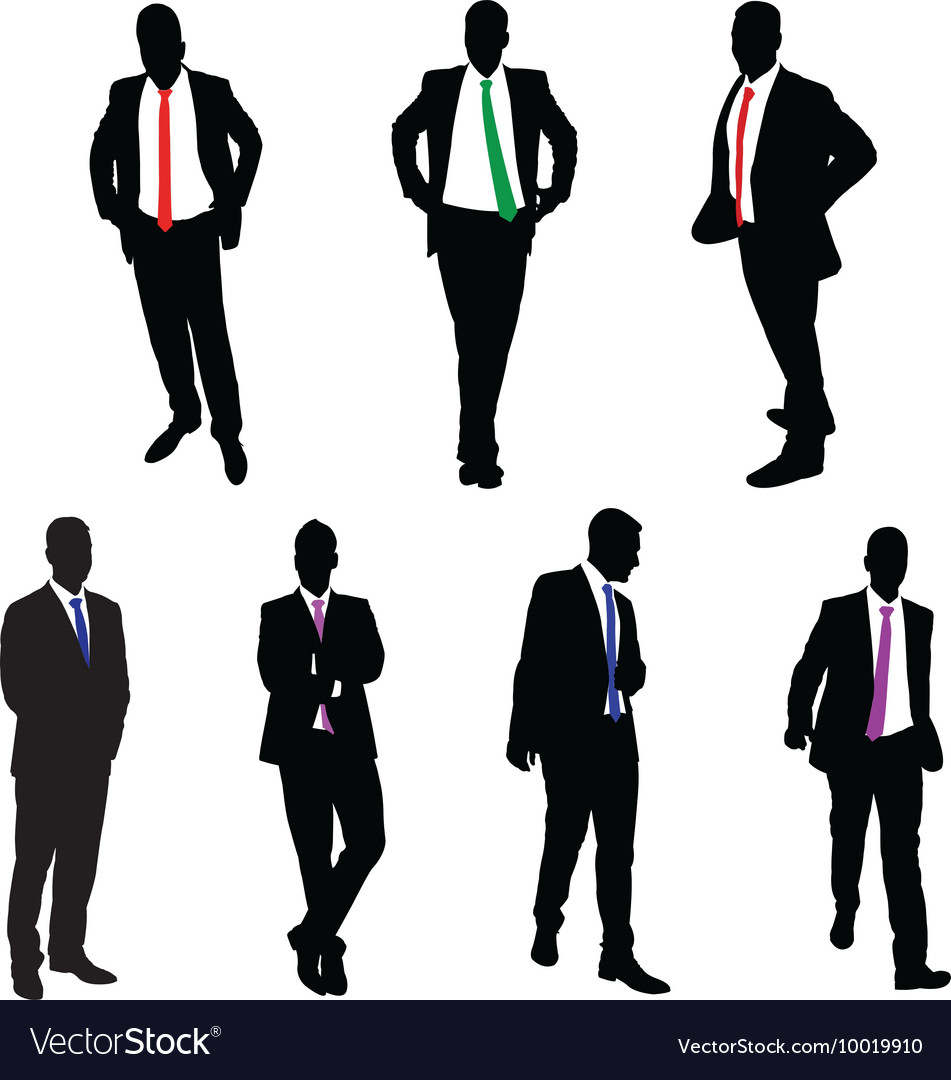 A collection of 7 businessman silhouettes