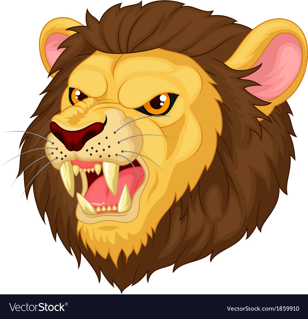 angry lion head mascot cartoon royalty free vector image rh vectorstock com cartoon lion head drawing animated lion head picture