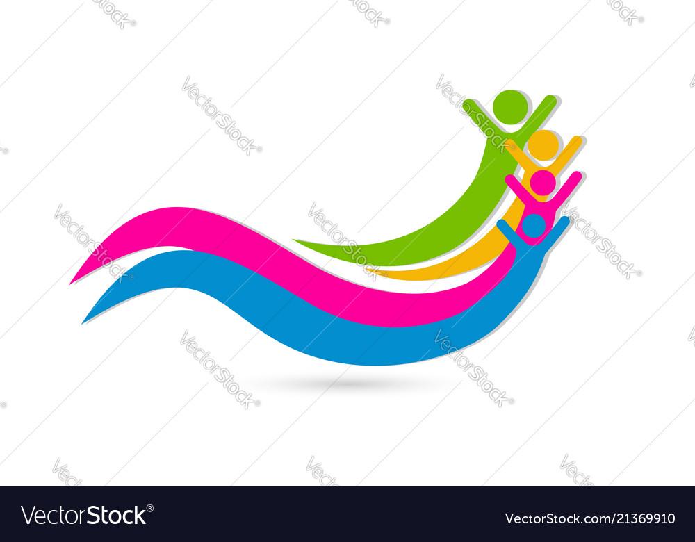 Happy friends unity concept icon design