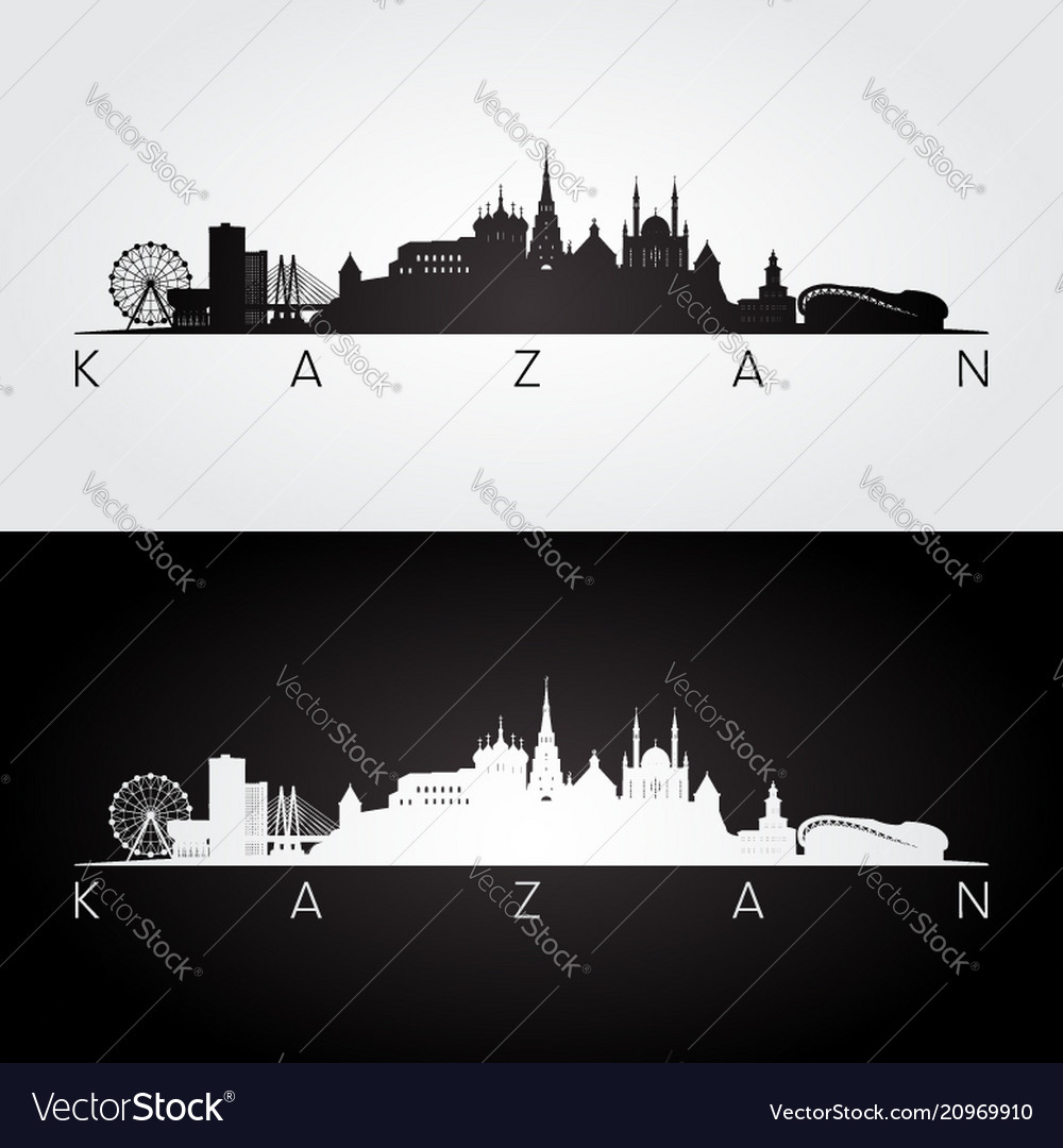 Kazan skyline and landmarks silhouette
