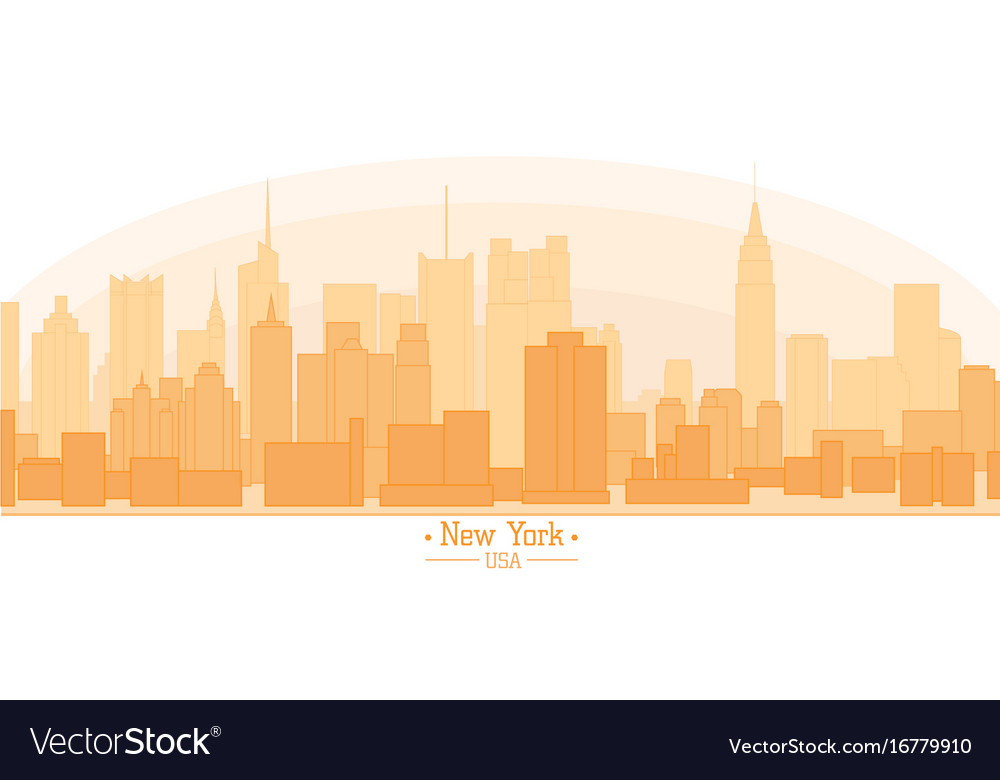 Linear banner of new york city buildings