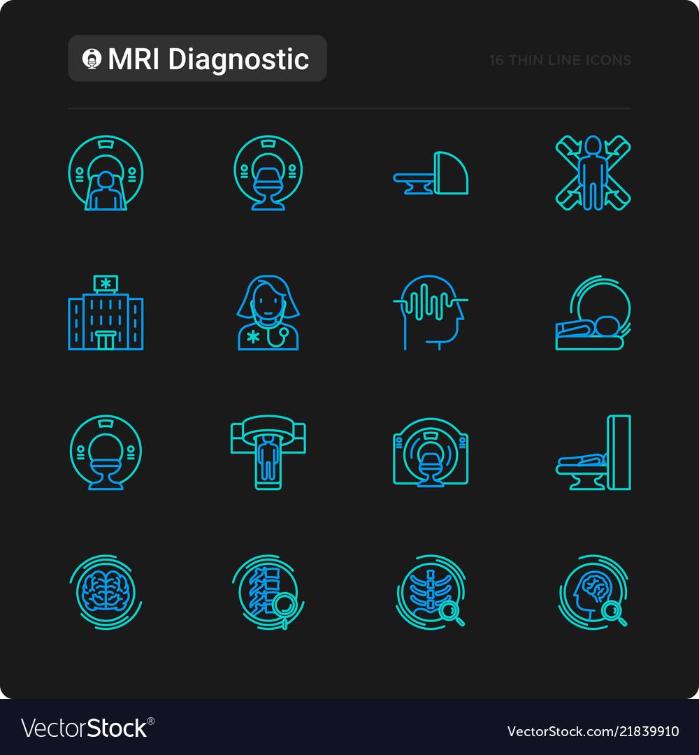 Mri diagnostics thin line icons set