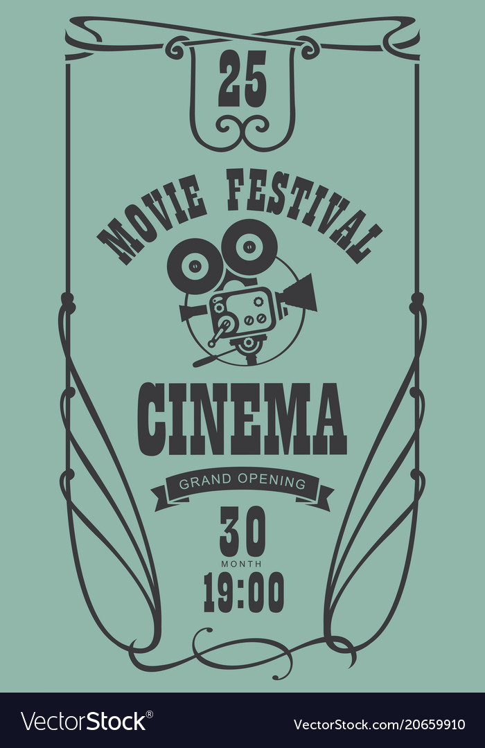 Poster for cinema movie festival with old camera