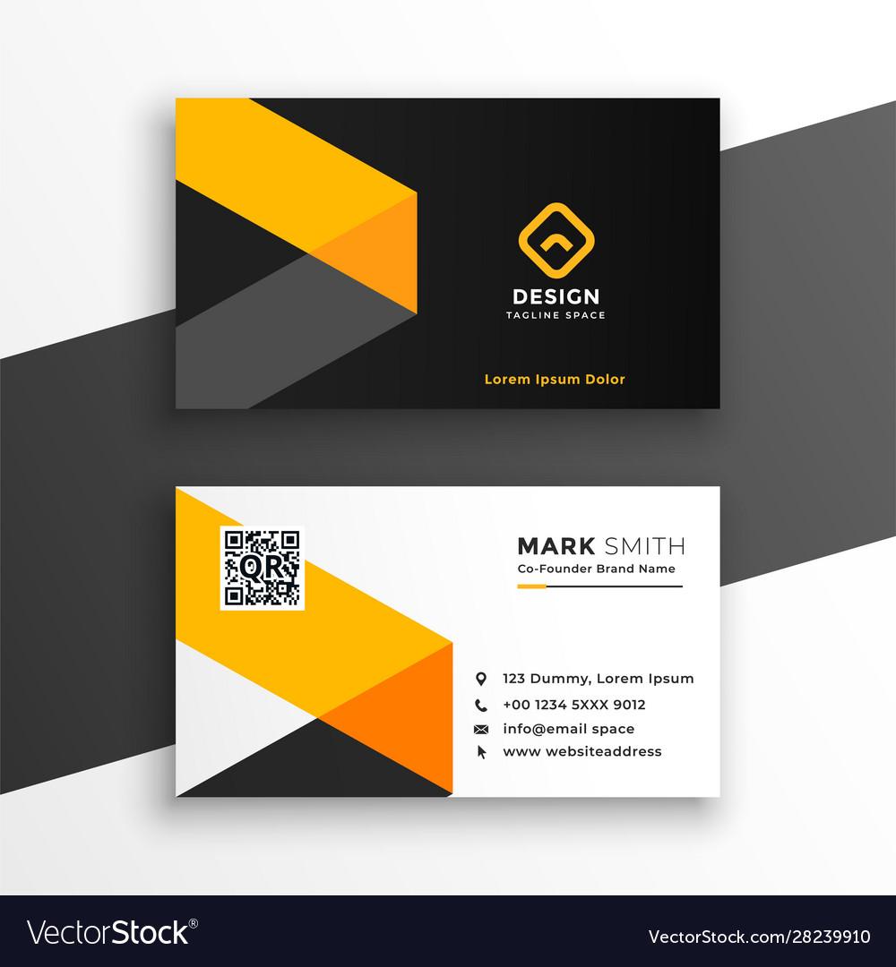 Professiona yellow business card modern template