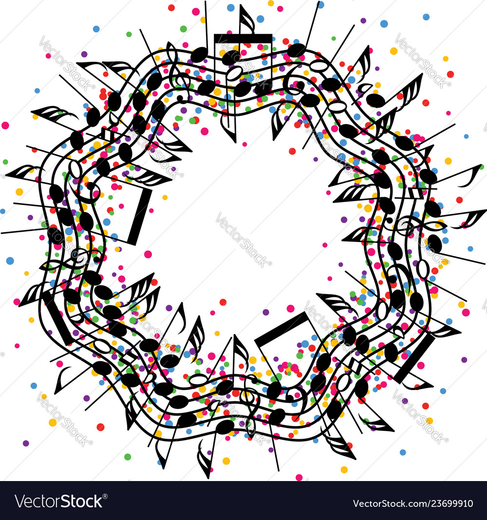 Round colorful background music notes