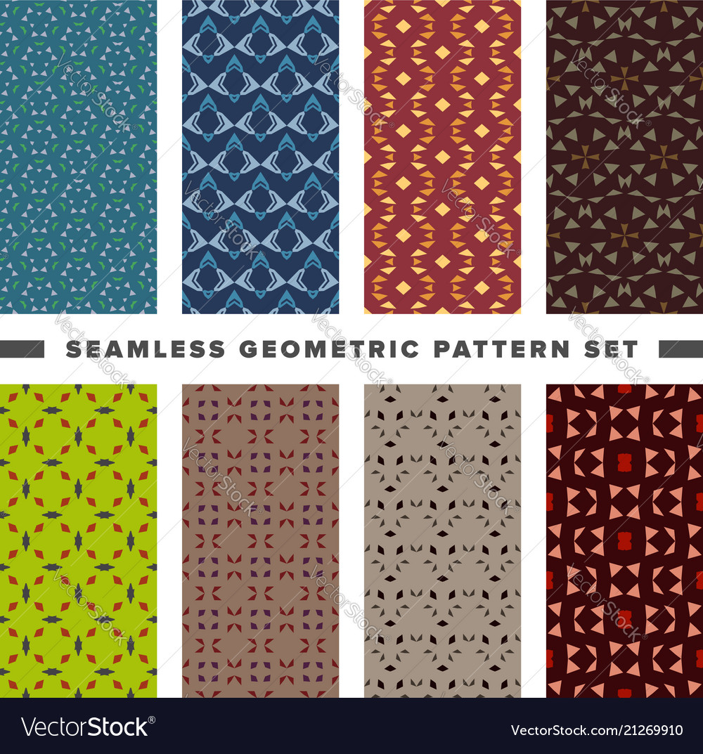 Set of seamless decorative geometric shapes