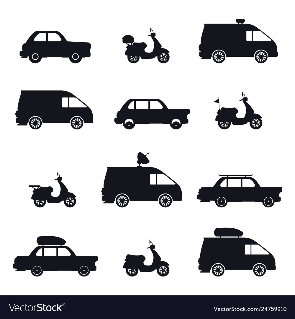 Silhouette car and minibus scooter and auto