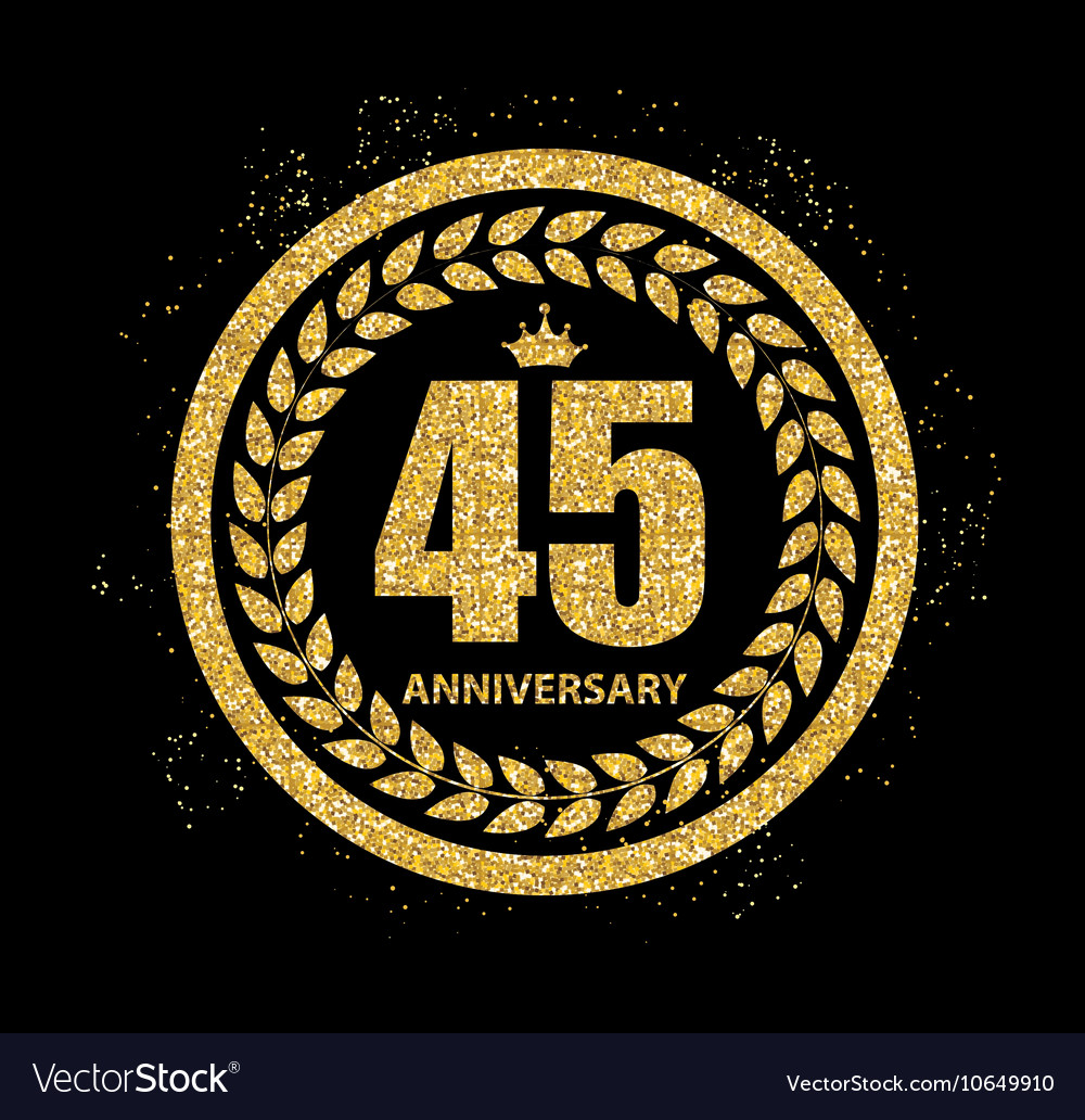 Template Logo 45 Years Anniversary Royalty Free Vector Image