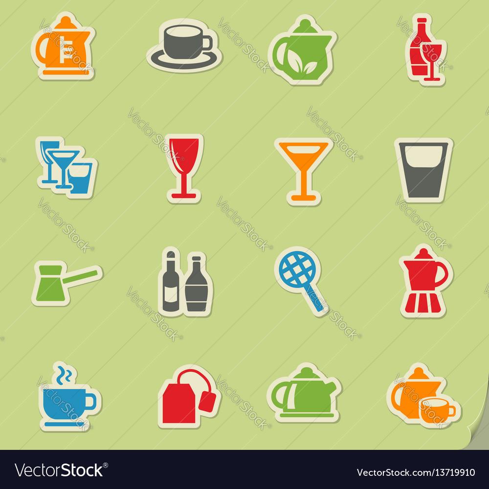 Utensils for beverages icon set