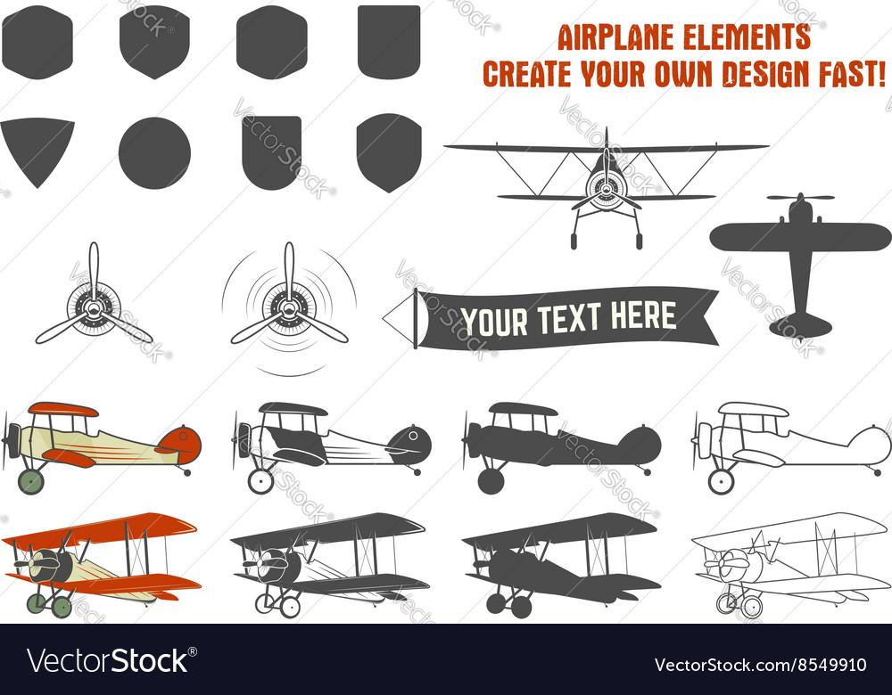 Vintage airplane symbols Biplane graphic