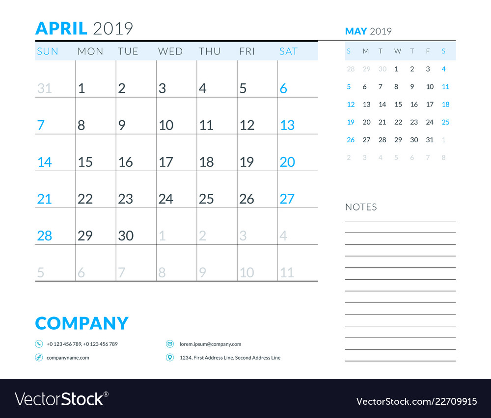 April 2019 week starts on sunday calendar planner