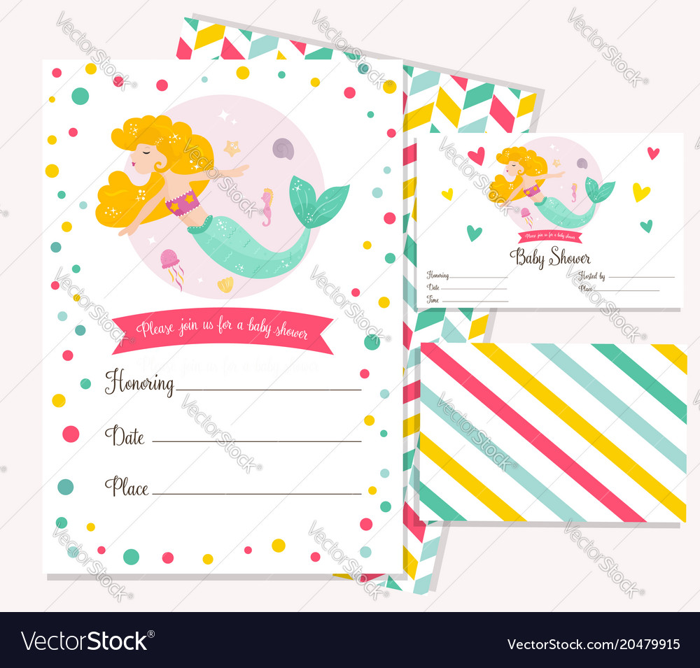 Bright invitation card with cute fairy mermaid vector image stopboris Gallery