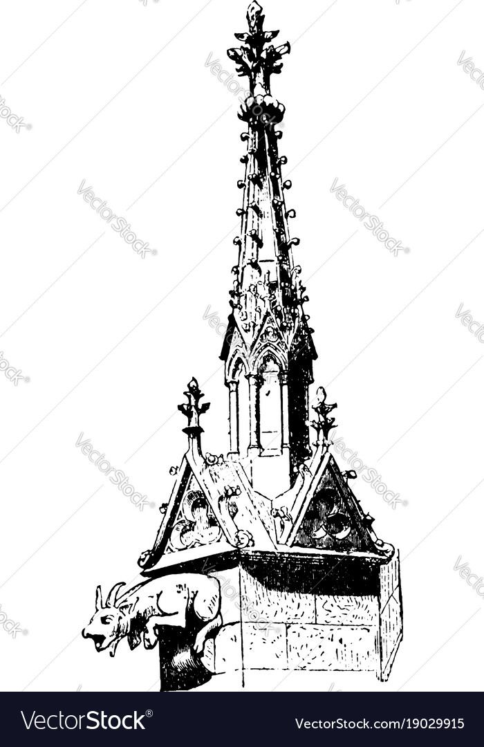 Buttress pinnacle notre dame vintage engraving vector image